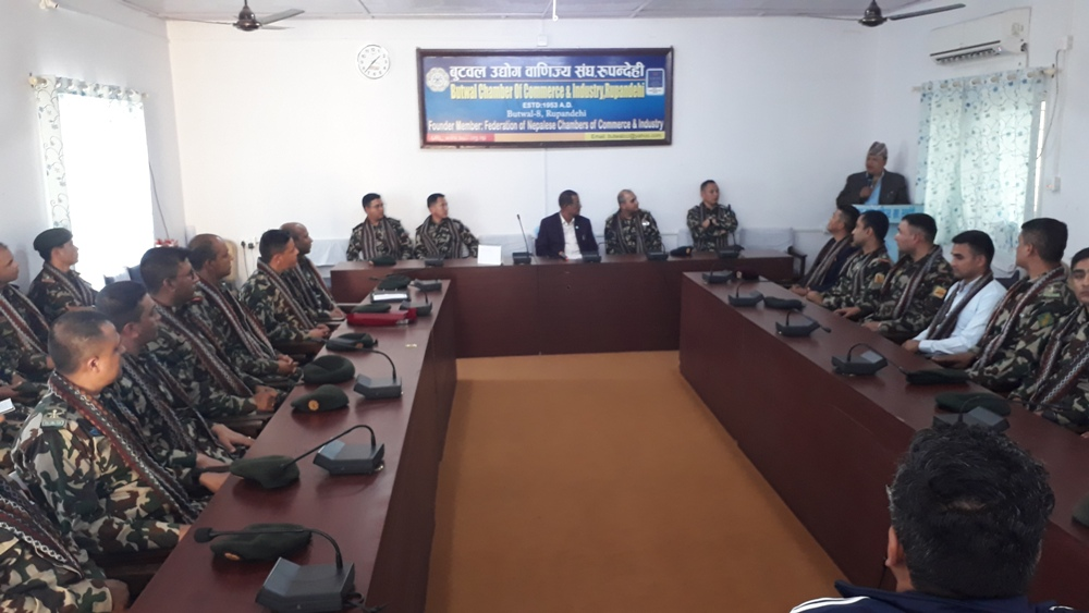 नेपाली सेनाका सैनिक अधिकृतहरुलाई बुटवल उद्योग बाणिज्य संघमा स्वागत
