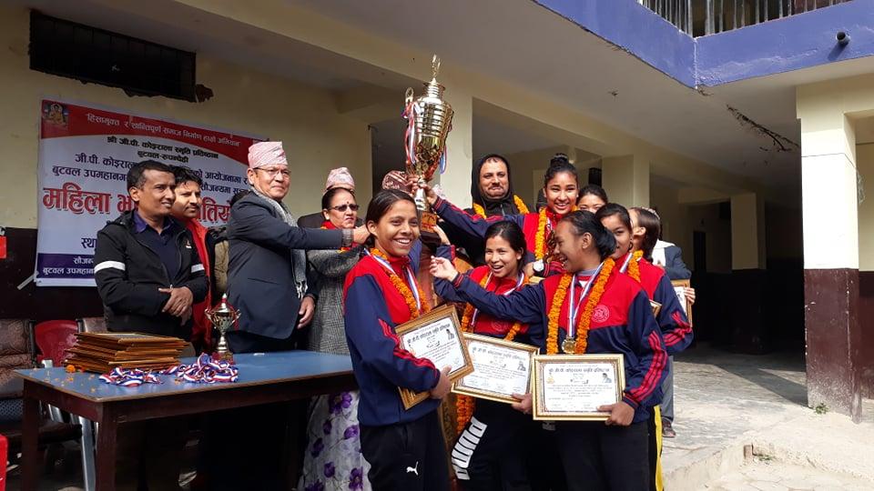 जिपि कोईराला स्मृती महिला भलिवल प्रतियोगिताको उपाधि एभरेष्ट बोर्डिङ्लाई